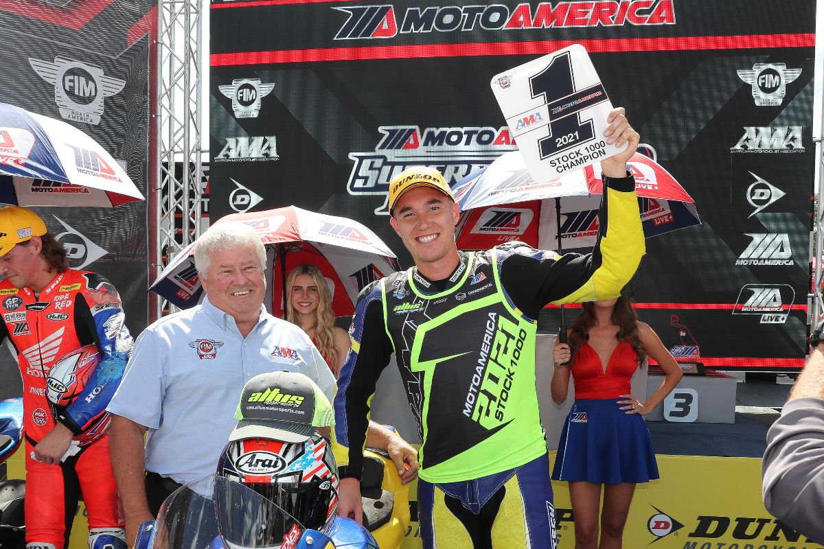 210912 The AMA's Mike Burkeen presented Jake Lewis with his Stock 1000 number-one plate on Saturday