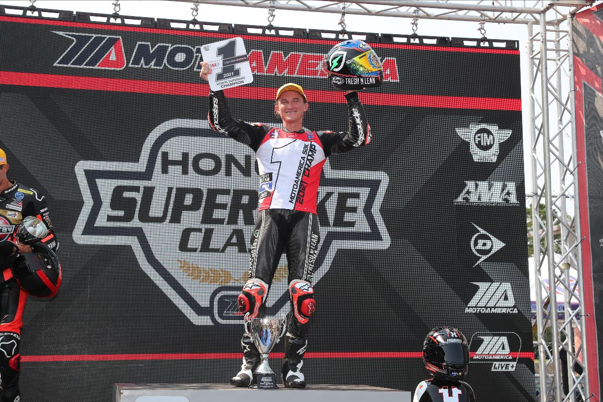 210913 With his 15th win of the year in race two on Sunday morning, Jake Gagne wrapped up the 2021 MotoAmerica Superbike Championship