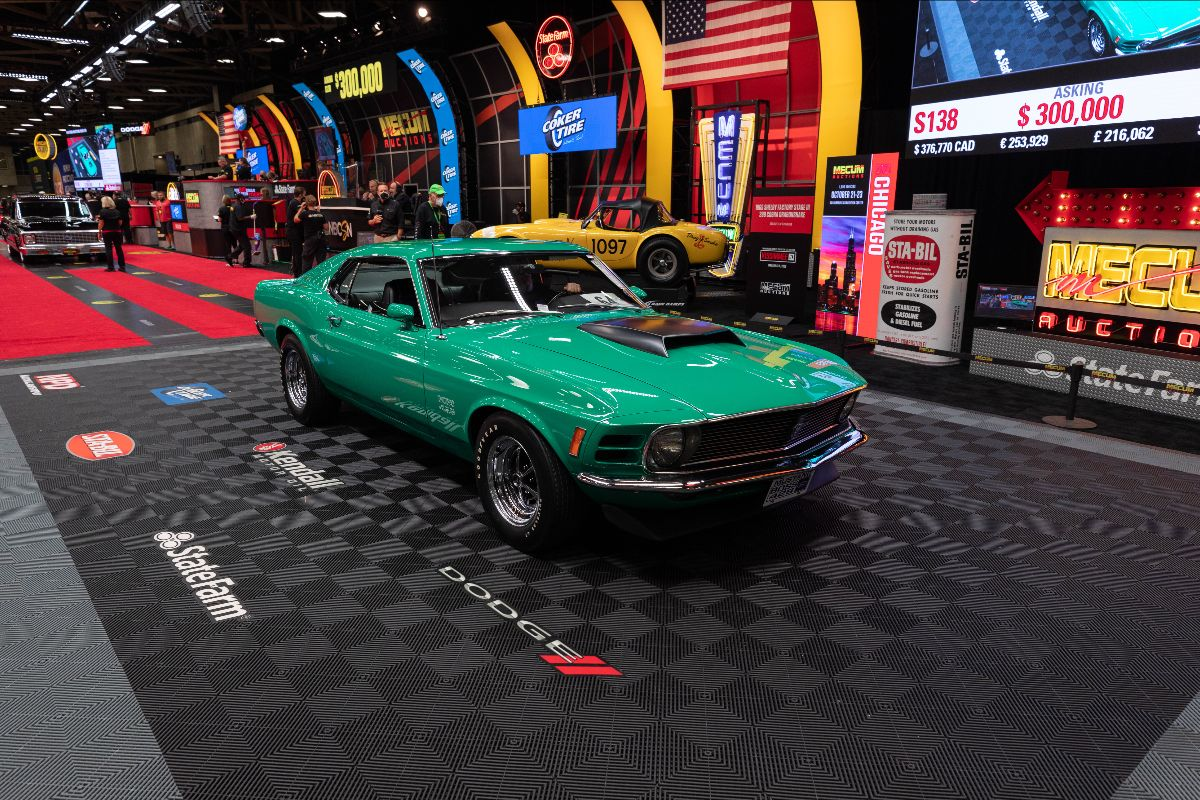 1970 Ford Mustang Boss 429 Fastback KK No. 2274, MCA Trailered Concours Gold (Lot S138) sold at $357,500