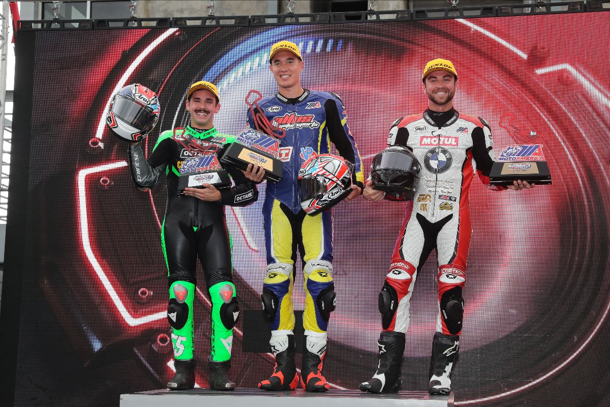 210919 (From left to right) MIchael Gilbert, Jake Lewis and Travis Wyman finished third, first and second in the Stock 1000