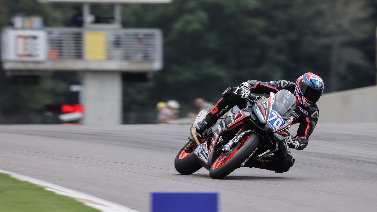Italian Tommaso Marcon led the Twins Cup qualifying one session on his Aprilia.