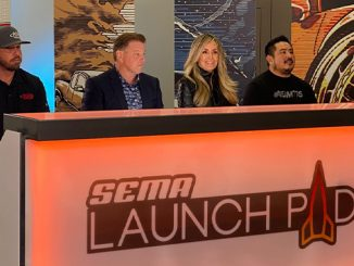 From left, Jared Hare, Chip Foose, Alex Parker, and Myles Kovacs are judges of the 2021 SEMA Launch Pad competition (678)