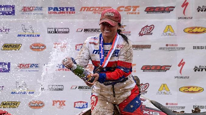 GBC Racer Katelyn Osburn celebrating her podium victory at GNCC in the WXC (678)