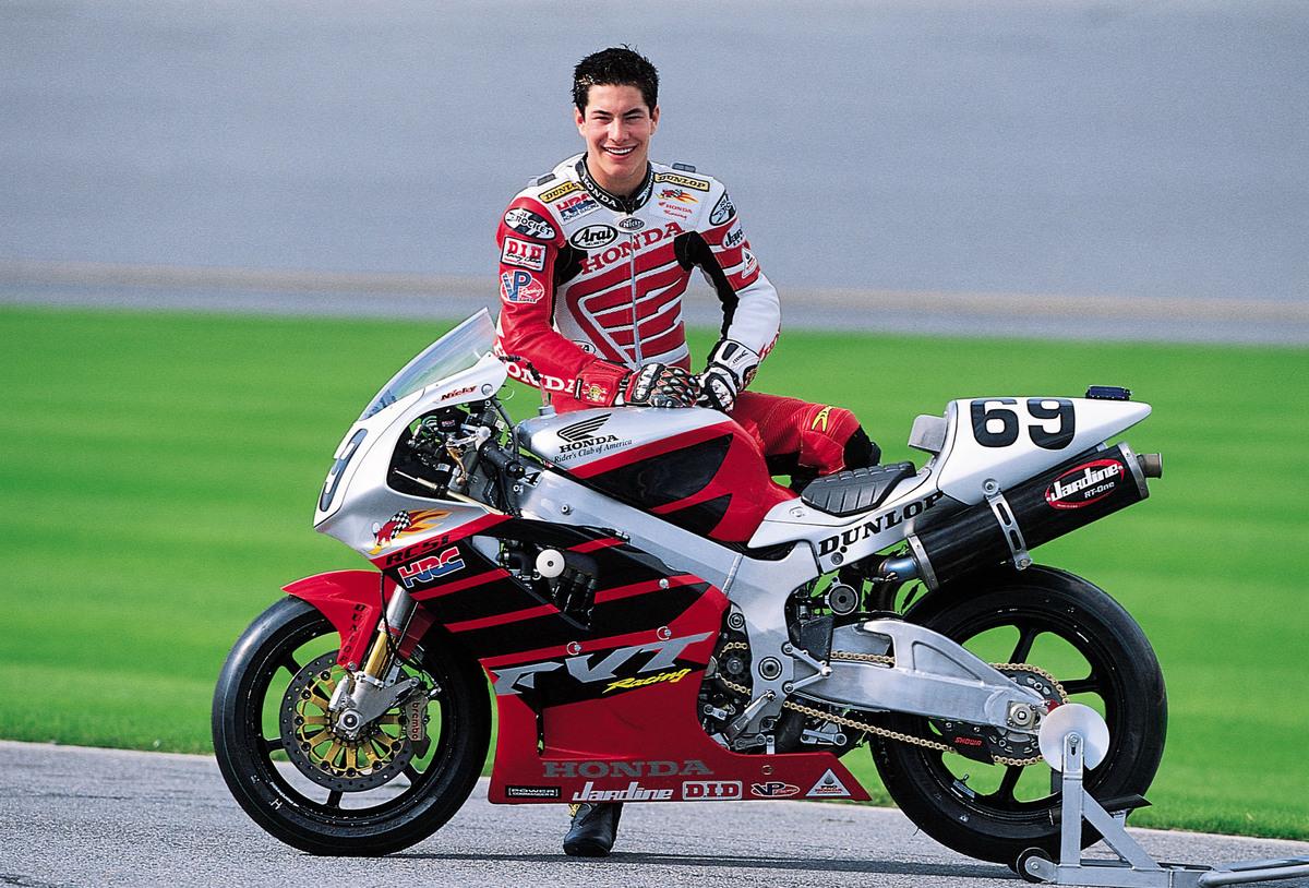 Nicky Hayden and 2002 Honda RC51 road racing bike.